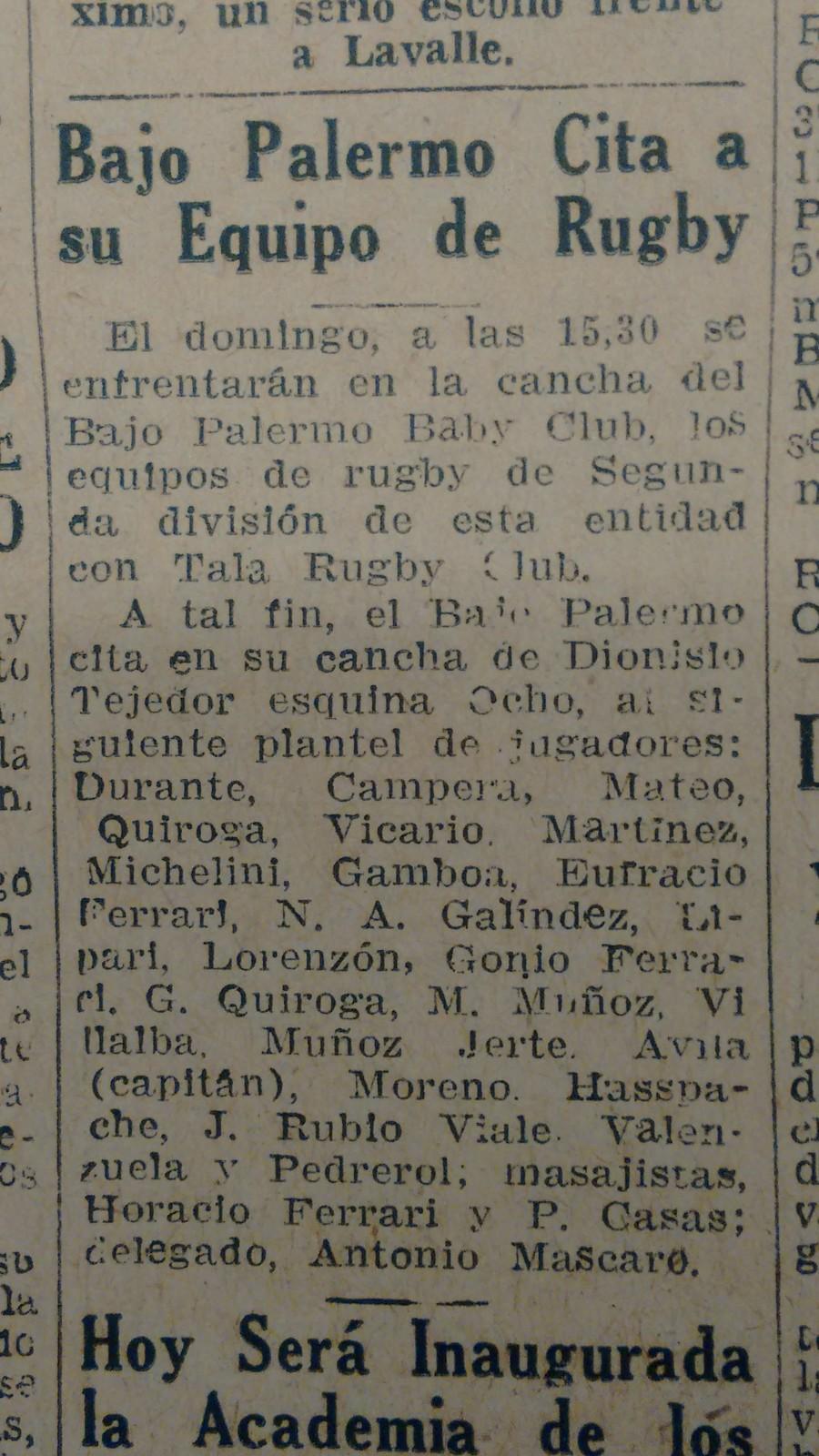 La Voz 04 06 1959 citacion al equipo de rugby ii